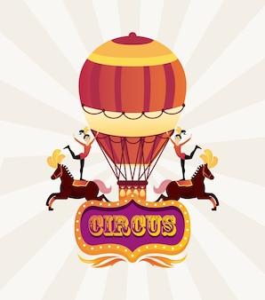 Personaggi di artisti di donne del circo in cavalli con illustrazione di aria calda in mongolfiera