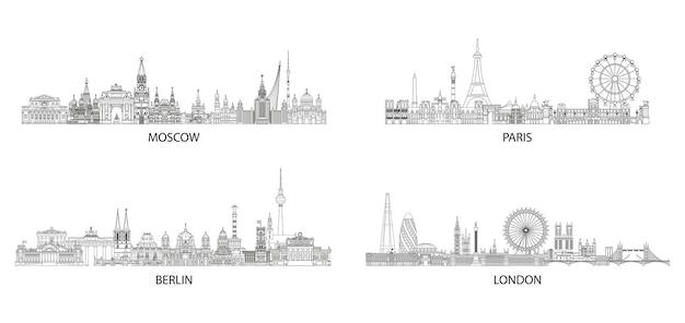 Set di linee d'arte sullo skyline delle città