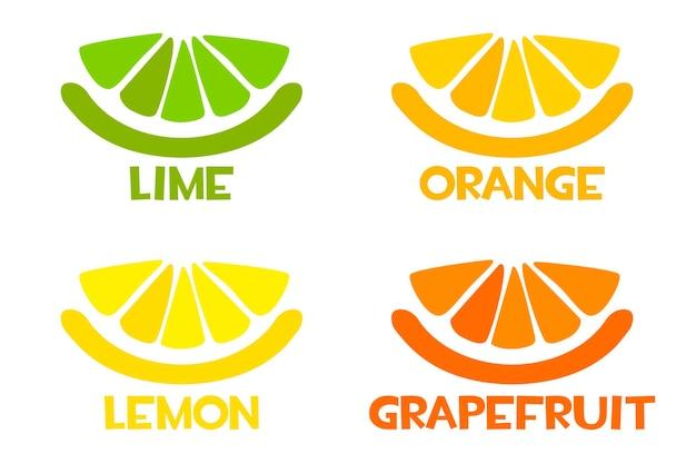 Icone di fette di agrumi, limone fresco, arancia, lime, pompelmo.