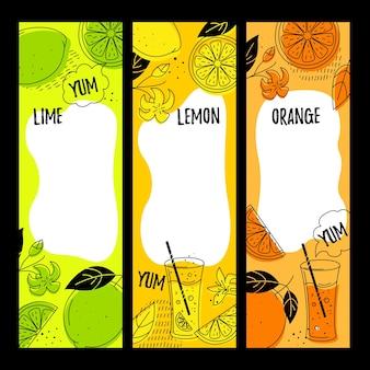 Agrumi (lime, limone, arancia). 3 banner verticali con spazio per il testo. stile scarabocchio.