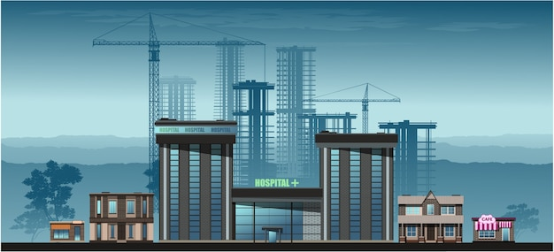 Città nel pomeriggio. grattacieli di vetro, edifici residenziali, caffè, scuole.