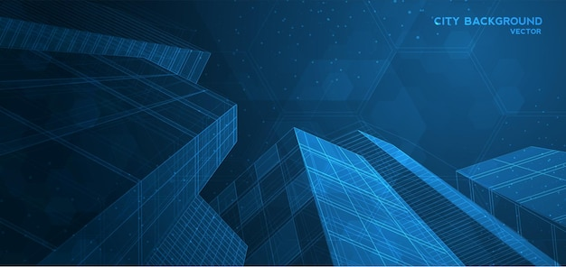 Sfondo della città architettonico con disegni di design moderno per uso web, rivista o poster vettoriale.