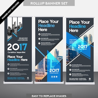 Sfondo di città business roll up ม bandiera banner design template set.