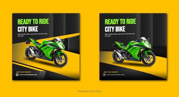 Modello di banner per la promozione del noleggio di biciclette da città sui social