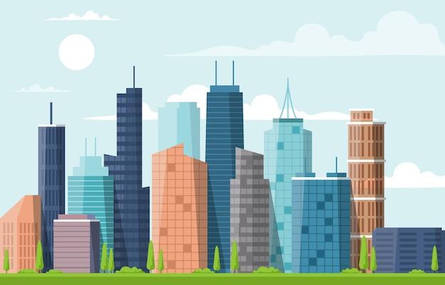 Illustrazione di affari dell'orizzonte di paesaggio urbano della costruzione di architettura della costruzione della città