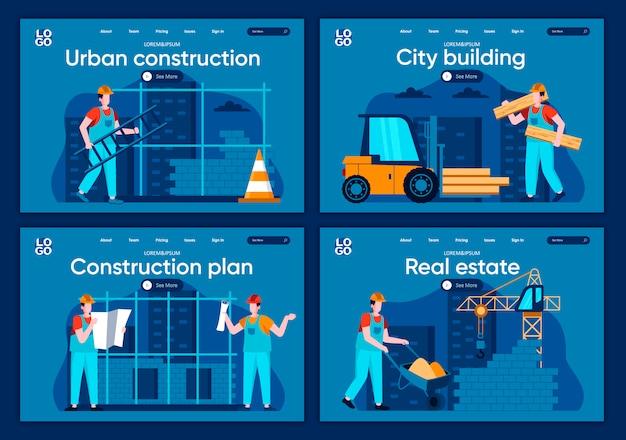 Set di pagine di atterraggio piane di costruzione della città. ingegneria e costruzione professionale, persone che lavorano nelle scene del cantiere per sito web o pagina web cms. immobiliare, illustrazione di costruzione urbana