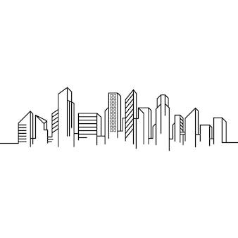 City building line art illustrazione di design dell'icona di vettore template