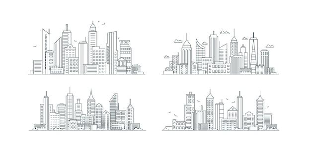 Set di icone lineari di edifici di città via urbana di grattacieli con contorno di linea sottile di varie strutture