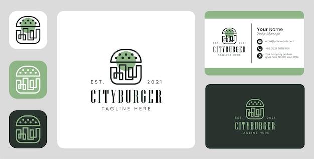 Logo city burger con design stazionario
