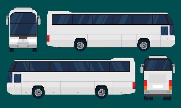 Autobus urbano quattro viste lato superiore retro anteriore autobus turistico flat