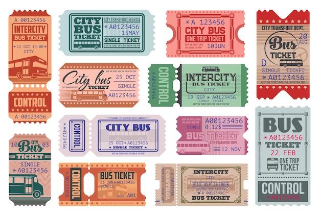 Set di modelli di biglietti retrò per il giro in autobus della città.