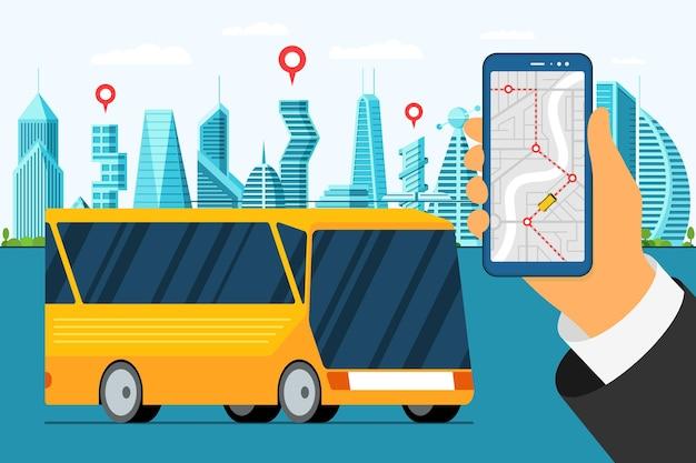 City bus tour banner design modello veicolo urbano con applicazione mappa sullo schermo dello smartphone puplic