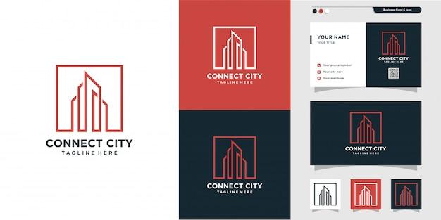 Logo di connessione alla città e ispirazione per il design di biglietti da visita. città, compendio, tessera, icona, moderno, edificio, costruzione premium
