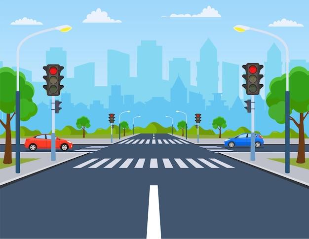 Città incrocio con auto, strada su strisce pedonali con semafori.