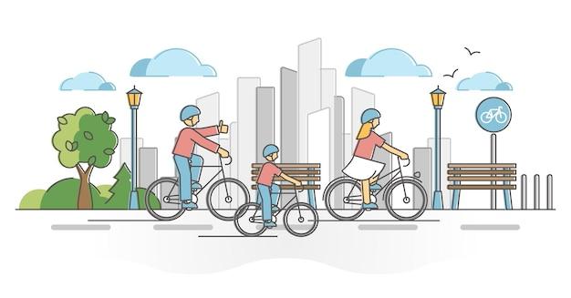 Attività ciclistica della città come concetto di contorno di corsa di trasporto attivo urbano