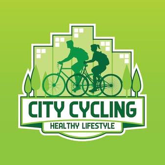 Logo di stile di vita sano in bicicletta della città