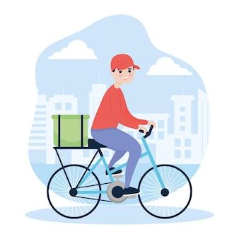 Città di consegna uomo in sella a bici