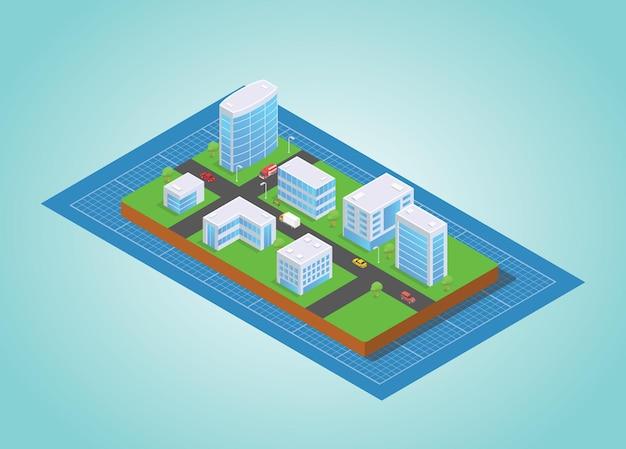 Pianificazione del progetto di sviluppo della città con uno stile isometrico moderno