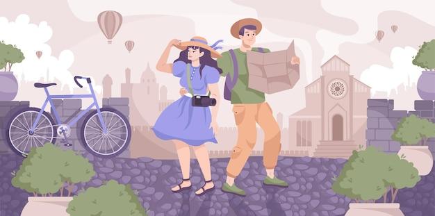 Composizione piana di escursione della città con la scena del paesaggio urbano della siluetta della città antica e coppia di turisti con l'illustrazione della mappa