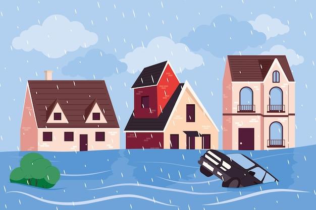 Scena di alluvione della città