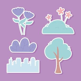 Adesivi della flora della città