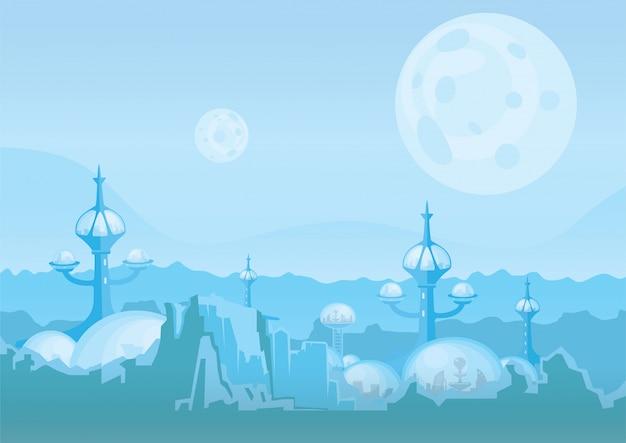 La città del futuro, una colonia spaziale. insediamento umano con edifici futuristici su marte o su un altro pianeta. illustrazione.