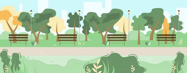 Paesaggio del fumetto della vegetazione di green park della città