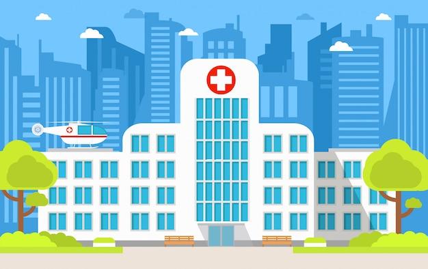 Elicottero di assistenza medica dell'ambulanza della costruzione dell'ospedale urbano.