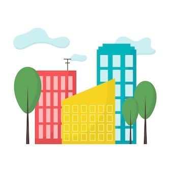 Illustrazione della città città con edifici e alberi paesaggio della città stile piatto illustrazione vettoriale