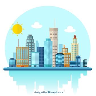 Città illustrazione Vettore Premium