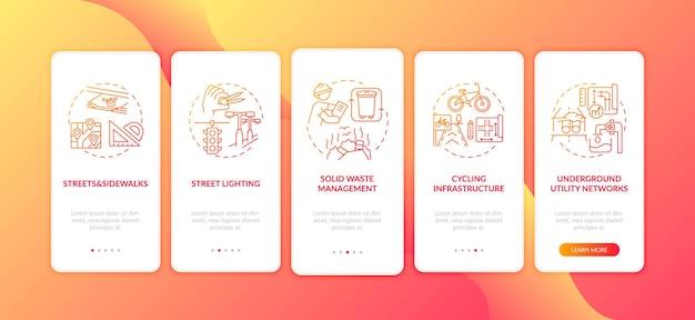 Schermata della pagina dell'app mobile onboarding rossa dell'infrastruttura della città con concetti. istruzioni grafiche in 5 passaggi per il servizio pubblico e la struttura. modello di interfaccia utente con illustrazioni a colori rgb