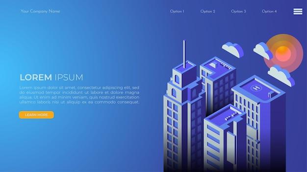 Pagina di destinazione del paesaggio della città in isometrica