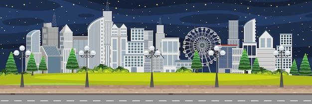 Paesaggio della città di scena notturna