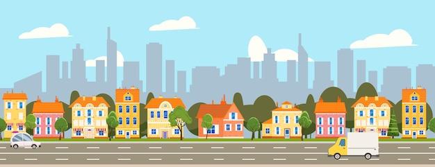 Paesaggio della città illustrazione orizzontale senza soluzione di continuità grattacieli del paesaggio urbano case suburbane