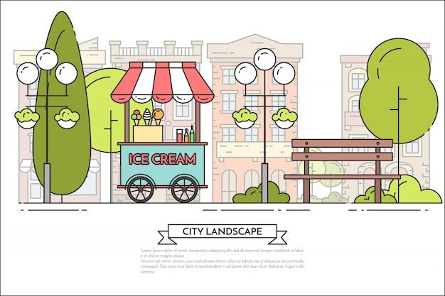 Paesaggio della città con panca, camion del gelato in parco pubblico.