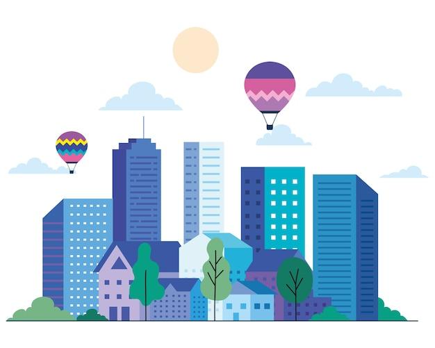 Il paesaggio della città con edifici ospita mongolfiere alberi sole e nuvole design, architettura e tema urbano