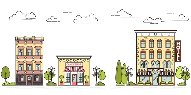 Paesaggio della città con case, caffè, alberi, nuvole. illustrazione vettoriale arte linea piatta.