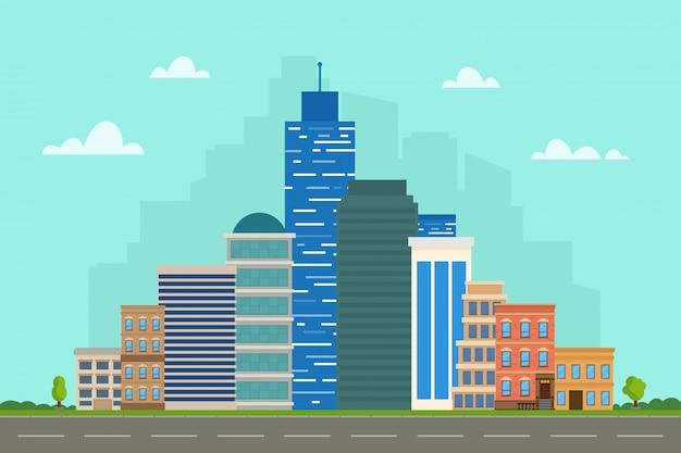 Paesaggio della città con grattacieli.
