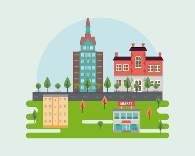 Scena di paesaggio urbano della megalopoli di vita della città con l'illustrazione delle costruzioni e del mercato