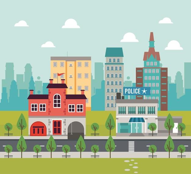Scena di paesaggio urbano della megalopoli di vita della città con la stazione di polizia e l'illustrazione delle costruzioni