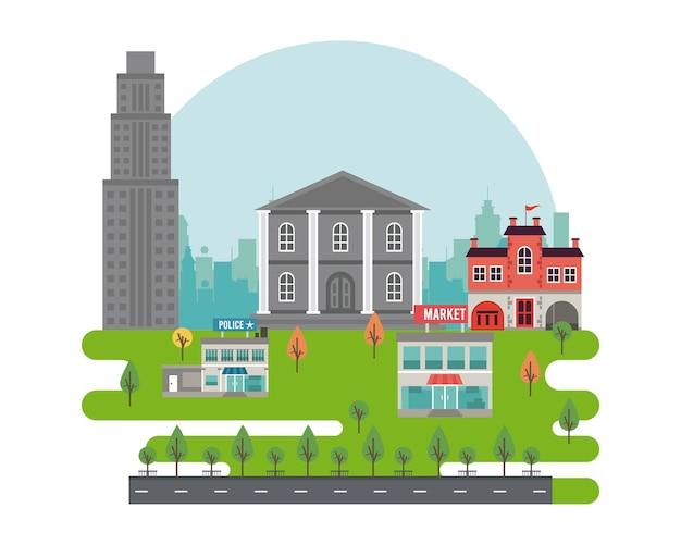 Scena di paesaggio urbano della megalopoli di vita della città con la stazione di polizia e l'illustrazione del mercato