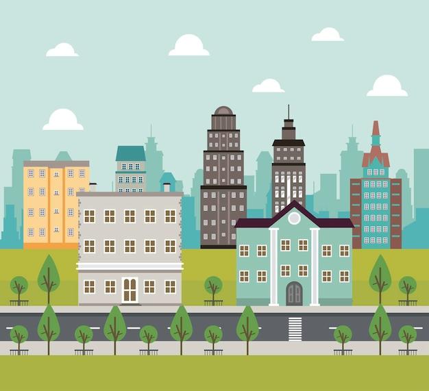 Scena di paesaggio urbano della megalopoli di vita della città con l'illustrazione delle costruzioni e della strada