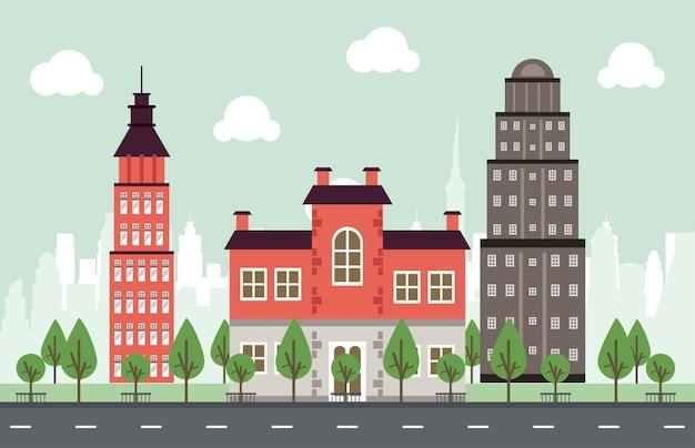 Scena di paesaggio urbano della megalopoli di vita della città con i grattacieli e l'illustrazione degli alberi