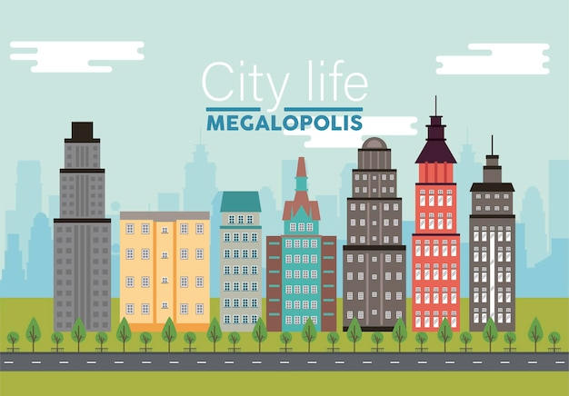 Iscrizione di megalopoli di vita di città nella scena del paesaggio urbano con l'illustrazione dei grattacieli