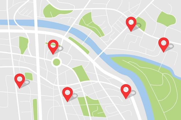 Mappa della città per il piano stradale di navigazione stradale del percorso gps