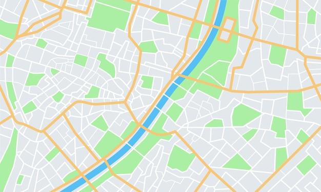 Mappa della città. strade cittadine con parco e fiume. piano di navigazione gps del centro, trasporto urbano astratto.
