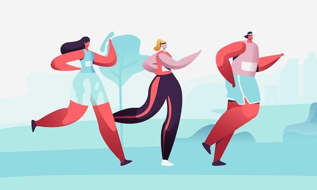Maratona cittadina. cartoon illustrazione piatta
