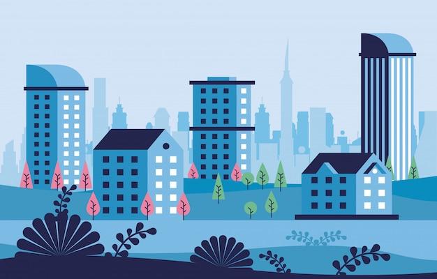 Cornice di scena di paesaggio urbano minimal città