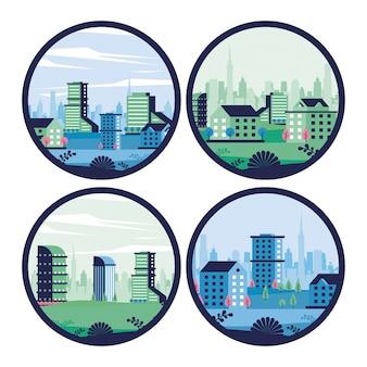 Scene di paesaggio urbano minimo della città nel telaio circolare