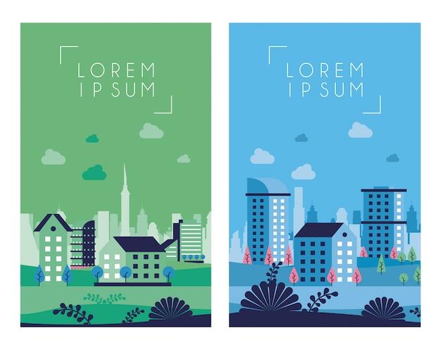 Cornici di scene di paesaggio urbano minimal città